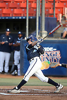 Brhet Bewley (9) of the University of San Diego Toreros bats against the Cal State Fullerton Titans at Goodwin Field on April 5, 2016 in Fullerton, California. Cal State Fullerton defeated University of San Diego, 4-2. (Larry Goren/Four Seam Images)