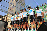 Team Sky at sign on before the start of the 112th edition of Il Lombardia 2018, the final monument of the season running 241km from Bergamo to Como, Lombardy, Italy. 13th October 2018.<br /> Picture: Eoin Clarke | Cyclefile<br /> <br /> <br /> All photos usage must carry mandatory copyright credit (© Cyclefile | Eoin Clarke)