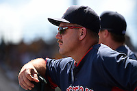 Boston Red Sox first base coach Arnie Beyeler (43) during a Spring Training game against the Pittsburgh Pirates on March 12, 2015 at McKechnie Field in Bradenton, Florida.  Boston defeated Pittsburgh 5-1.  (Mike Janes/Four Seam Images)