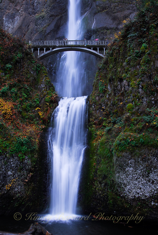 Multnomah Falls cascading down the montains in Oregon