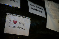 Paris, France, 15.11.2015. Place de la Republique is covered in messages, candles and flowers. Images from Paris in the aftermath of the devastating terror attacks on friday november 13. Photo: Christopher Olssøn.