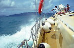 Inter island boat crossing from Praslin to La Digue, Seychelles