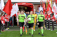 20150508 - LIEGE , BELGIUM : referees pictured with Joline Delcroix (left) , Lois Otte (middle) and Valerie Uyttersprot (right) during the soccer match between the women teams of Standard de Liege Femina and PSV Eindhoven , on the 26th and last matchday of the BeNeleague competition Friday 8 th May 2015 in Stade Maurice Dufrasne in Liege . PHOTO DAVID CATRY