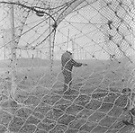 A salmon netter repairing a 'jumper' net to be stored away at the end of the season at Kinnaber, Angus.<br /> Ref. Catching the Tide 53/00/08 (4th September 2000)<br /> <br /> The once-thriving Scottish salmon netting industry fell into decline in the 1970s and 1980s when the numbers of fish caught reduced due to environmental and economic reasons. In 2016, a three-year ban was imposed by the Scottish Government on the advice of scientists to try to boost dwindling stocks which anglers and conservationists blamed on netsmen.