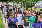August 20, 2016; First Year students walk to their classrooms for their inaugural Moreau First Year Experience classes, Welcome Weekend 2016. (Photo by Matt Cashore/University of Notre Dame)