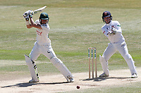 Billy Root in batting action for Notts as Adam Wheater looks on from behind the stumps during Essex CCC vs Nottinghamshire CCC, Specsavers County Championship Division 1 Cricket at The Cloudfm County Ground on 22nd June 2018