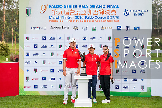 Group 5 poses for a portrait during the 9th Faldo Series Asia Grand Final 2014 golf tournament on March 18, 2015 at Mission Hills Golf Club in Shenzhen, China. Photo by Xaume Olleros / Power Sport Images