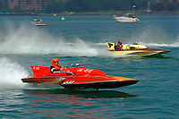 "J-33 ""Miss Lu Lu"", 1968 Lloyd 7 Lite Division II class hydroplane (front) and F-222 ""Opechee"", 1965 Hallett 266 class hydroplane..10-12 July, 2009, 100th Gold Cup, Detroit River, Detroit, MI USA..©2009 F.Peirce Williams, USA."
