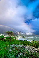 A rainbow over Camp's Bay (near Cape Town), South Africa