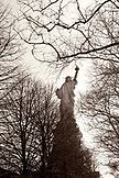 USA, New York, the Statue of Liberty on Liberty Island in New York Harbor, (B&W)