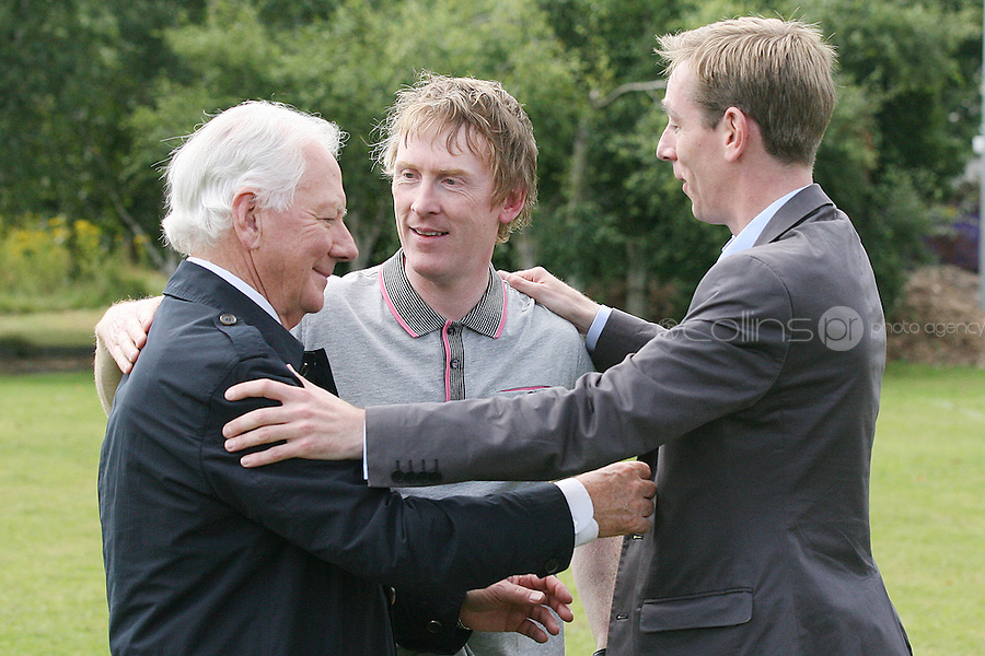 18/8/2010. RTE RADIO NEW SEASON LAUNCH. Radio presenters Gay Byrne, Hector Ó hEochagáin and Ryan Tubridy are pictured at the RTE Radio new Autumn season launch in Dublin. Picture James Horan/Collins Photos