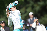 Lexi Thompson tees off on the 11th tee at the LPGA Championship 2014 Sponsored By Wegmans at Monroe Golf Club in Pittsford, New York on August 13, 2014