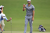 Dustin Johnson (USA) sinks his putt on the 18th green during Saturday's Round 3 of the 2017 PGA Championship held at Quail Hollow Golf Club, Charlotte, North Carolina, USA. 12th August 2017.<br /> Picture: Eoin Clarke | Golffile<br /> <br /> <br /> All photos usage must carry mandatory copyright credit (&copy; Golffile | Eoin Clarke)