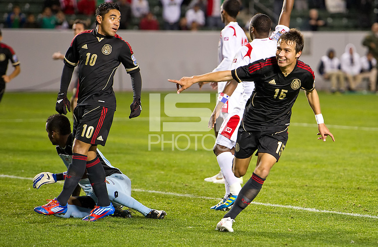 CARSON, CA - March 25, 2012: Nick Torres (15) of Mexico during the Mexico vs Panama match at the Home Depot Center in Carson, California. Final score Mexico 1, Panama 0.