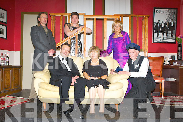 The Island players cast on the set of their new play Rumour's by Neil Simon which they will be performing in the Ivy Leaf Castleisland this weekend front row l-r: Tommy Martin, Marie Walsh, Joe Martin. Back row: Redmond Roche, Caroline Healy-O'Connor and Jean Horgan