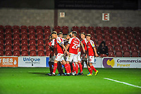 Fleetwood Town celbrate going 1-0 up during the The Leasing.com Trophy match between Fleetwood Town and Liverpool U21 at Highbury Stadium, Fleetwood, England on 25 September 2019. Photo by Stephen Buckley / PRiME Media Images.