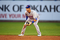 Midland RockHounds shortstop Chad Pinder (2) during a game against the Tulsa Drillers on June 2, 2015 at Oneok Field in Tulsa, Oklahoma.  Midland defeated Tulsa 6-5.  (Mike Janes/Four Seam Images)