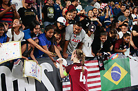 Carson, CA - Thursday August 03, 2017: Becky Sauerbrunn, fans after the 2017 Tournament of Nations match between the women's national teams of the United States (USA) and Japan (JPN) at the StubHub Center.