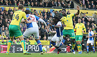 Blackburn Rovers' Marvin Emnes is fouled by Norwich City's Alexander Tettey<br /> <br /> Photographer David Shipman/CameraSport<br /> <br /> The EFL Sky Bet Championship - Norwich City v Blackburn Rovers - Saturday 11th March 2017 - Carrow Road - Norwich<br /> <br /> World Copyright &copy; 2017 CameraSport. All rights reserved. 43 Linden Ave. Countesthorpe. Leicester. England. LE8 5PG - Tel: +44 (0) 116 277 4147 - admin@camerasport.com - www.camerasport.com