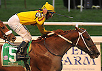27 Sept 2008:Jockey Robby Albarado celebrates as Curlin becomes the richest horse in racing history after a 3/4-length victory in the Jockey Club Gold Cup at Belmont Park in Elmont, New York.