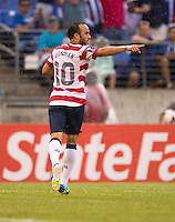 Landon Donovan (10) of the United States celebrates his goal during the quarterfinals of the CONCACAF Gold Cup at M&T Bank Stadium in Baltimore, MD.  The United States defeated El Salvador, 5-1.