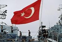 - Turkish military ship in the harbor of Taranto for NATO exercises ....- nave militare turca nel porto di Taranto per esercitazioni NATO