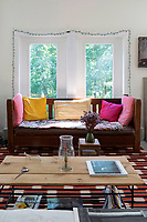 Wooden sofa and coffee table