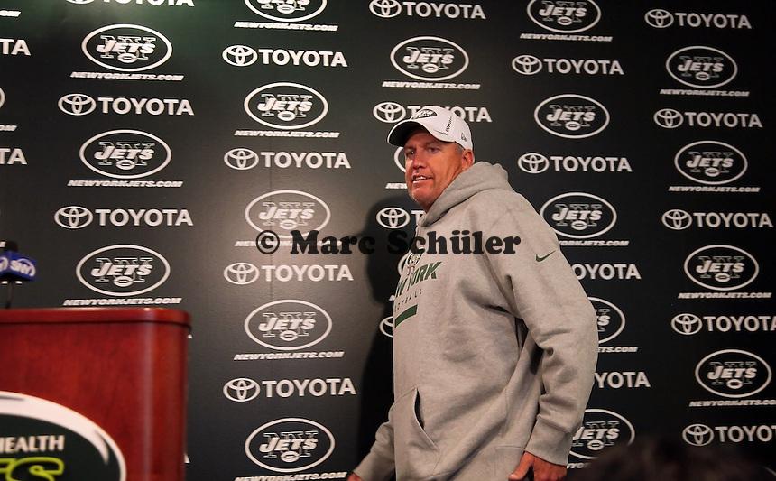 Head Coach Rex Ryan (Jets) kommt zur Pressekonferenz