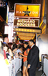 Renee Elise Goldsberry stars in Broadway's sold out show - Hamilton - An American Musical on August 21, 2015 at the Richard Rodgers Theatre, New York City and she signs for fans after the show. (Photos by Sue Coflin/Max Photos)