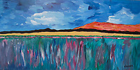 My impressionist vision of the Montana landscape in the summer, wheat fields and wildflowers. 10x20 gallery wrapped canvas print $95.00
