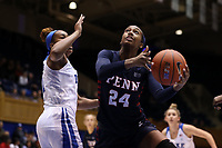 DURHAM, NC - NOVEMBER 29: Tori Crawford #24 of the University of Pennsylvania takes a shot under the basket during a game between Penn and Duke at Cameron Indoor Stadium on November 29, 2019 in Durham, North Carolina.