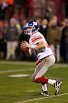 New York Giants quarterback Eli Manning (10) looks for a receiver during an NFC Championship NFL football game against the San Francisco 49ers on January 22, 2012 in San Francisco, California. The Giants won 20-17 in overtime. (AP Photo/David Stluka)