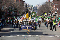 Marching bands march in the 2013 annual St. Patrick's Day Parade in South Boston, Boston, Massachusetts, USA.