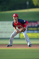 Hagerstown Suns second baseman Bryan Mejia (12) on defense against the Kannapolis Intimidators at Intimidators Stadium on July 18, 2015 in Kannapolis, North Carolina.  The Intimidators defeated the Suns 1-0.  (Brian Westerholt/Four Seam Images)