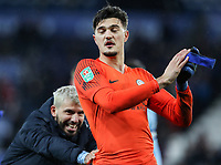 Manchester City 's Sergio Aguero congratulates team mate Arijanet Muric<br /> <br /> Photographer Andrew Kearns/CameraSport<br /> <br /> English League Cup - Carabao Cup Quarter Final - Leicester City v Manchester City - Tuesday 18th December 2018 - King Power Stadium - Leicester<br />  <br /> World Copyright © 2018 CameraSport. All rights reserved. 43 Linden Ave. Countesthorpe. Leicester. England. LE8 5PG - Tel: +44 (0) 116 277 4147 - admin@camerasport.com - www.camerasport.com