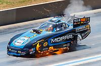 Jul 23, 2017; Morrison, CO, USA; NHRA funny car driver Matt Hagan explodes an engine on fire during the Mile High Nationals at Bandimere Speedway. Mandatory Credit: Mark J. Rebilas-USA TODAY Sports