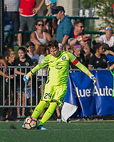 Boston, MA - Saturday August 19, 2017: Ashlyn Harris during a regular season National Women's Soccer League (NWSL) match between the Boston Breakers (blue) and the Orlando Pride (white/light blue) at Jordan Field. Orlando Pride defeated Boston Breakers, 2-1.