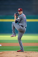 Lehigh Valley IronPigs starting pitcher Nick Pivetta (16) during a game against the Buffalo Bisons on August 29, 2016 at Coca-Cola Field in Buffalo, New York.  Buffalo defeated Lehigh Valley 3-2.  (Mike Janes/Four Seam Images)