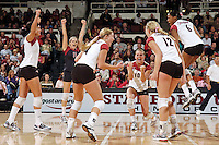 11 November 2006: Cynthia Barboza, Jessica Fishburn, Bryn Kehoe, Kristin Richards, Erin Waller and Franci Girard during Stanford's win over UCLA at Maples Pavilion in Stanford, CA.