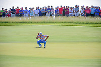 Rickie Fowler (USA) lines up his putt on 11 during Thursday's round 1 of the 117th U.S. Open, at Erin Hills, Erin, Wisconsin. 6/15/2017.<br /> Picture: Golffile | Ken Murray<br /> <br /> <br /> All photo usage must carry mandatory copyright credit (&copy; Golffile | Ken Murray)