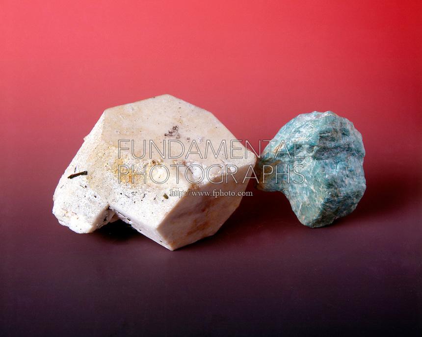 FELDSPAR: MICROCLINE<br /> White and Green Amazonstone Tectosilicate, Feldspar group  Triclinic-pinacoidal crystal.  KAlSi3O8 -Potassium aluminum Silicate.