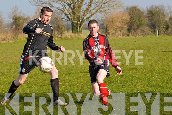 Will o' the wisp: Ballymac.Galaxy's Keith Roche finds Kilflynn's.top scorer Andrew Keane a.real handful to mark in their Castle.Bar League Cup tie on Sunday   Copyright Kerry's Eye 2008
