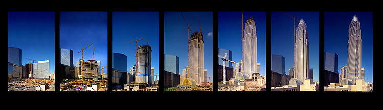 Construction progress from 1989 to 1992 on the Bank of America World Headquarters building in Charlotte, NC. Originally built as the Nationsbank Corporate Center, the building completed in 1992 was designed by noted architect Cesar Pelli. It stands 871 feet and is the 132nd tallest building in the world.