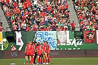 Portland, Oregon - Sunday September 4, 2016: Thorns Huddle during a regular season National Women's Soccer League (NWSL) match at Providence Park.