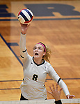Althoff's Karinna Gall tips the ball over. Edwardsville defeated Althoff in a Class 4A volleyball sectional semifinal at O'Fallon HS in O'Fallon, IL on November 4, 2019.<br /> Tim Vizer/Special to STLhighschoolsports.com