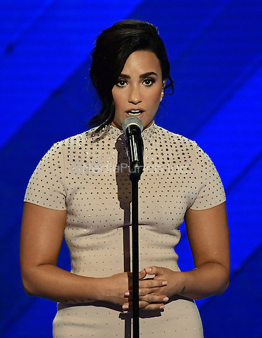 Demi Lovato makes remarks and performs at the 2016 Democratic National Convention at the Wells Fargo Center in Philadelphia, Pennsylvania on Monday, July 25, 2016.<br /> Credit: Ron Sachs / CNP/MediaPunch<br /> (RESTRICTION: NO New York or New Jersey Newspapers or newspapers within a 75 mile radius of New York City)