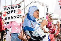 Shirin Jahan, left, and sister Nusrat Jahan decry Israel's actions during the 2006 Lebanon conflict, a 34 day affair that resulted in over 1,000 Lebanese deaths, the majority of which were civilians.  Israeli casualties numbered over 100 with the majority being in the military.