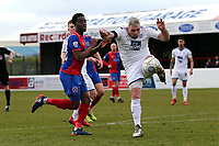Steve McNulty of Tranmere Rovers and Fejiri Okenabirhie of Dagenham  during Dagenham & Redbridge vs Tranmere Rovers, Vanarama National League Football at the Chigwell Construction Stadium on 10th March 2018