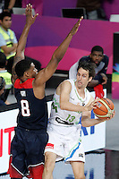 Slovenia's Domen Lorbek (r) and USA's Rudy Gay during 2014 FIBA Basketball World Cup Quarter-Finals match.September 9,2014.(ALTERPHOTOS/Acero)