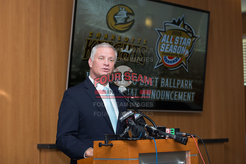 Dan Rajkowski, Executive Vice President and Chief Operating Officer of the Charlotte Knights, announces Sonic Automotive, Inc. as the title sponsor of the 2016 Triple-A Baseball All-Star Game at BB&T Ballpark on February 17, 2016 in Charlotte, North Carolina.  The Triple-A Baseball All-Star game and associated events will take place July 11-13, 2016 at BB&T Ballpark.  (Brian Westerholt/Four Seam Images)